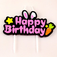 Lilin Ulang Tahun / Happy Birthday Candle Rabbit Carrot Pink
