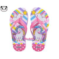 Sandal Anak 25-36 Cewek Unicorn PINK Pelangi Cantik Jepit Karakter