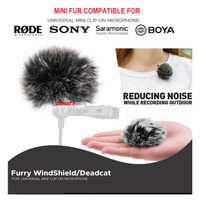 Furry WindShield Deadcat Bulu Cover Clip-on Mic Universal Microphone
