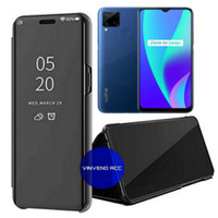 Flip Case Realme C15 Clear View Mirror standing Cover