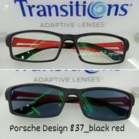 paket kacamata pria P837 + lensa progresive transition grey