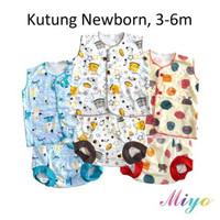MIYO 1 Setelan Baju Bayi Kutung Motif (0-6) / Baju Kancing dan Celana