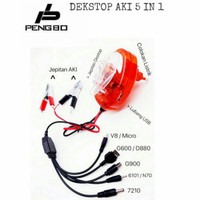 Dekstop + DC Charger Hp Aki Motor Pengbo Destop Accu Gojek Grab 5 In 1