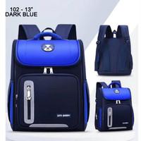 "Ransel Fashion 102-13"" Tas Ransel Sekolah Import Double Decker Ransel - Dark Blue"