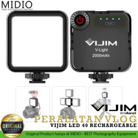 VIJIM VL49 Video Camera Vlog LED RECHARGEABLE dengan 3 ColdShoe