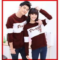 SET Sweater Baju Korean Style Pusple Couple Cewe Cowo - Maroon White