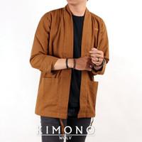 Semi Parka Cardigan Kimono WOLV Outer Pria Loose Casual Lengan Panjang