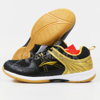 Sepatu Badminton Li-Ning / LiNing AYTQ082 Attack G6 Black Gold