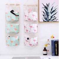 BH007 Pouch gantung 3 SEKAT / Storage Bag Gantung - Flamingo Putih