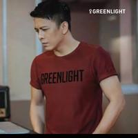 BAJU kaos pria merek greenlight ORIGINAL warna merah marun / kaos mura