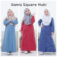 Gamis Square Anak 2 4 6 Tahun Baju Muslim Katun Kotak Perempuan Nubi