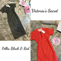 Maxi midi dress Victoria's secret Polkadot - Hitam midi