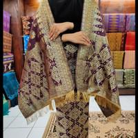 kain songket khas palembang ungu Gold ATBM set cantik manis