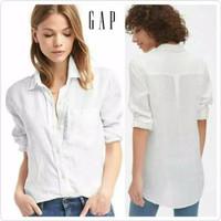 GAP Women Boyfriend Linen Shirt Kemeja Ungu Wanita Branded Original