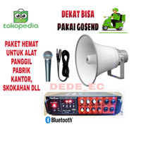 Paket Hemat 1/Amplifier Firstclass Fc 222/Corong Toa+mic shure