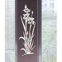 Stiker Cermin hiasan dinding dekorasi ruang 1m bunga rumput akrilik