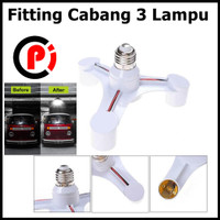 Fitting E27 Cabang 3 Lampu Bohlam Studio Fiting