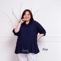 Kemeja Wanita Rayon Polos Biru Tua Navy Dongker Ga Pudar Jumbo Ld118cm