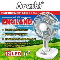 Kipas Angin Arashi AR 138 + Lampu Emergency 6Inch 12 LED Surya England
