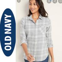 OLD NAVY boyfriend plaid shirt (plaid grey)