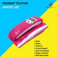 Telepon Kabel Sahitel S35 | Telephone Dinding Rumah Kantor - Pink
