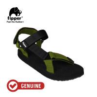 Fipper Trekker / Sandal Pria / Black Green Army Black