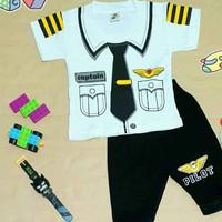 Setelan Baju Anak Bayi Laki Laki Motif Pilot 0-12 Bulan (Maks 10 kg)