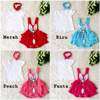 Baju Kodok Bayi Perempuan Overall Jumpsuit Kelinci Rabbit 0-6 Bulan