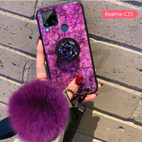 casing glitter realme c15 softcase marmer bling foil emas - Ungu