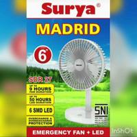 Kipas Angin Portable + Lampu Emergency 6 inch Charge SURYA MADRID