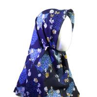 Jilbab Segi Empat Motif Bunga - Biru Dongker