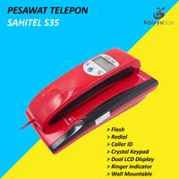 Telepon Kabel Sahitel S35 | Telephone Dinding Rumah Kantor - Red