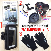 Paket Waterproof Holder HP Motor Stang + Charger Aki + Sarung Tangan