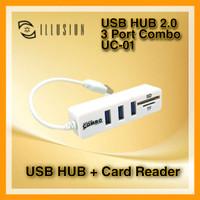 ILLUSION USB HUB 2.0 3 PORT COMBO UC-01 (USB HUB + Card Reader)