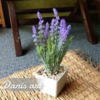 set bunga lavender bludru/ bunga meja / lavender palsu/ bunga plastik