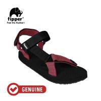 Fipper Trekker / Sandal Pria / Black Maroon Black