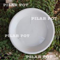 tatakan alas pot bunga putih 15cm untuk pot tawon 15cm