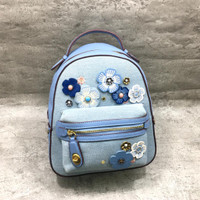 Backpack tas ransel wanita coach denim tea rose