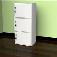 Rak buku susun 3 lemari serbaguna dengan pintu full kunci minimalis