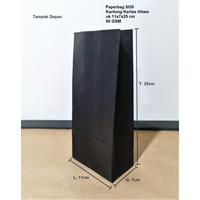 Paperbag Kantong Kertas SOS Hitam Polos 11x7x25cm 80 GSM
