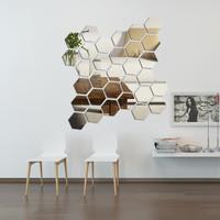 Hiasan Hexagonal Acrylic / Hiasan Dinding Cermin Mirror Wall Sticker