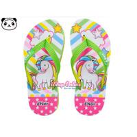Sandal Anak 25-36 Cewek Unicorn HIJAU Pelangi Cantik Jepit Lucu