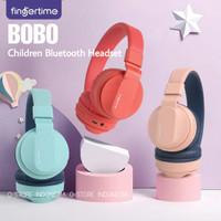 Fingertime BOBO Kids Cute Headset Bluetooth Wireless Headphone Anak - Merah