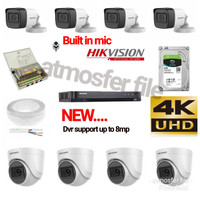 PAKET CCTV HIKVISION 8CH 5MP UHD +MIC HDD 2TB (DVR SUPORT 8MP)LENGKAP