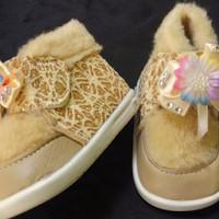 sepatu bayi perempuan boots bunyi motif bulu untuk 1-2 tahun