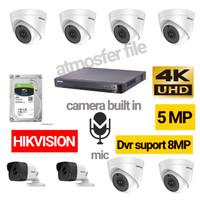 PAKET CCTV HIKVISION 8CH 5MP UHD +MIC HDD 4TB (DVR SUPORT 8MP)LENGKAP