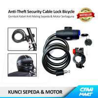 Gembok Sepeda Cable Lock Security Kabel Kunci Anti Maling Motor Helm - 85CM - HITAM