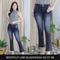 Celana Jeans Wanita Bootcut Line Blackwash Cutbray List Stretch Big
