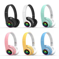 Headset / Headphone Bando Bluetooth Super Bass Macaron LED BT66