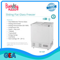 Sliding Flat Glass Freezer SD-132P / Freezer Ice Cream / Frozen Food